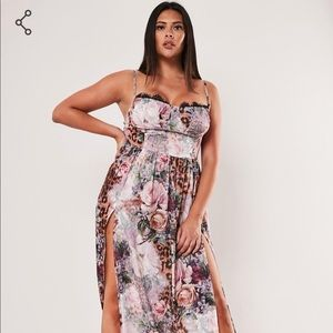 NWT Plus size Missguided floral leopard maxi dress
